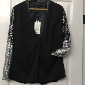 Black Blazer with Silver Sequin Sleeves Sz M